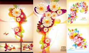 繁花似锦抽象花卉背景矢量素材