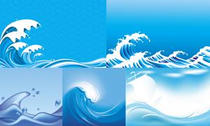 蓝色海面浪花波浪背景矢量素材