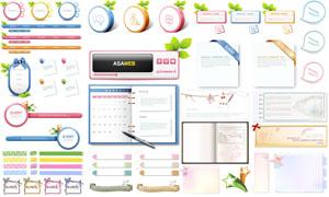 清新韓國網頁設計裝飾元素矢量素材