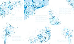 蓝色花朵花纹矢量素材