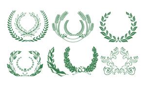 绿色麦穗与橄榄枝矢量素材