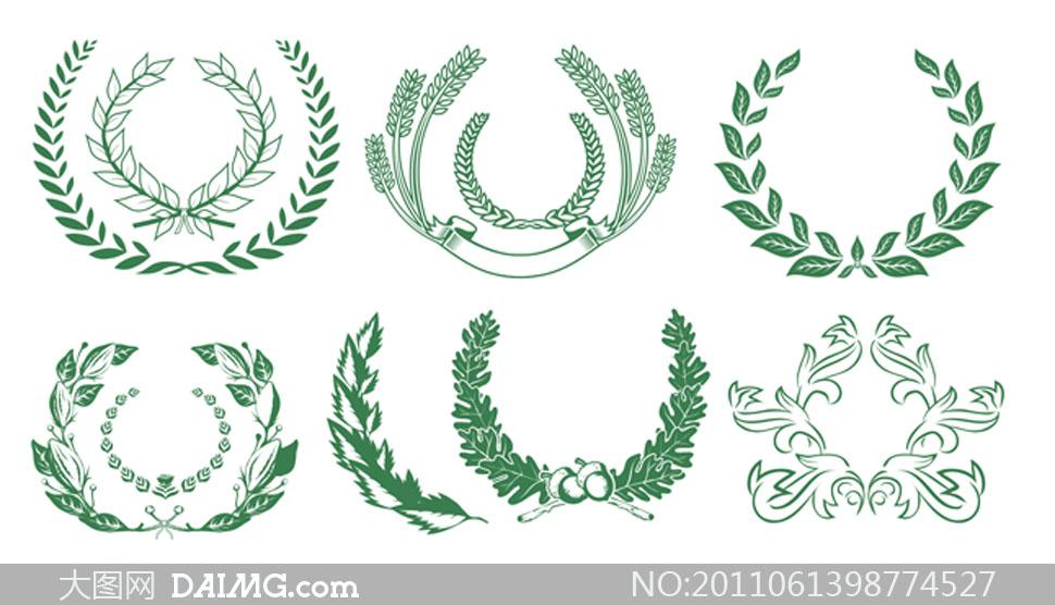 橄榄花纹_绿色麦穗与橄榄枝矢量素材_大图网图片素材