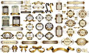 金色花纹边框标签飘带矢量素材