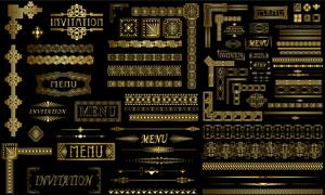 金色古典花纹边框装饰元素矢量素材