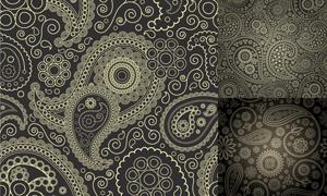 佩斯利花纹无缝拼接背景矢量素材