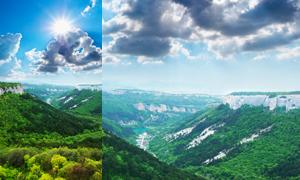 蓝天白云群山风景高清摄影图片