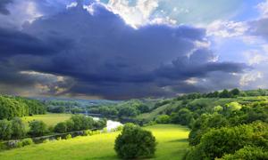 蓝天白云茂密植被高清摄影图片