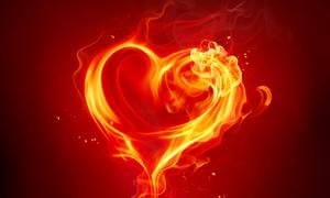 火焰心形与金色器皿