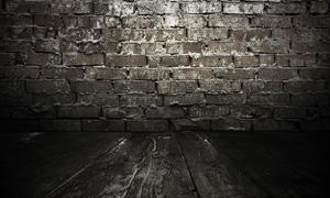 室内砖墙昏暗场景高清摄影图片