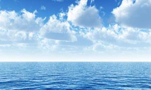 蓝天白云大海高清摄影图片