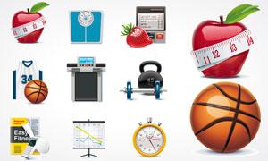 减肥瘦身健身相关主题矢量素材