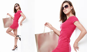 戴太阳镜的性感购物美女人物高清摄影图片