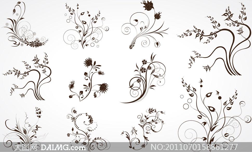 柔美黑白线条花纹矢量素材