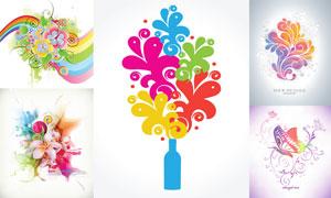 缤纷炫彩花朵主题设计元素矢量素材