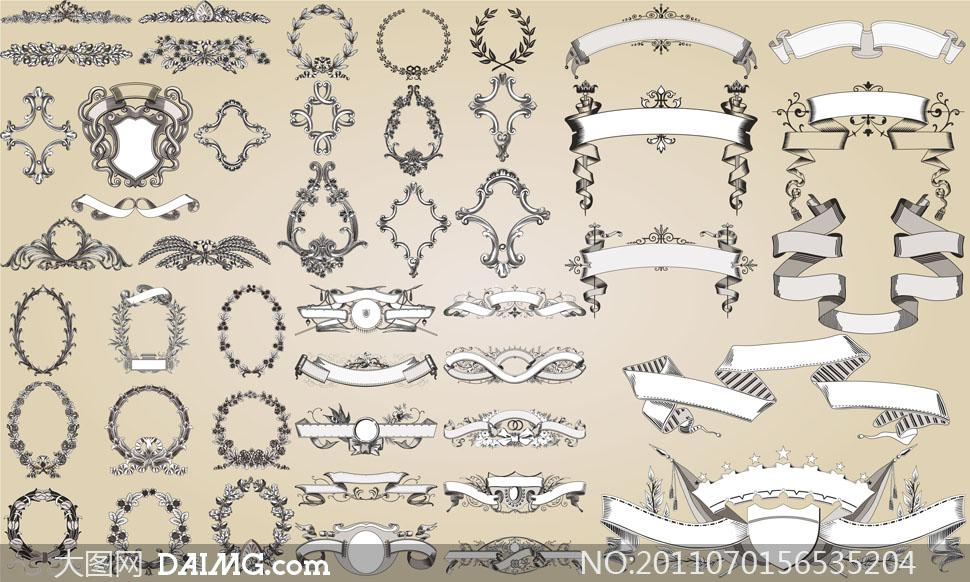 欧式复古花纹边框装饰元素矢量素材