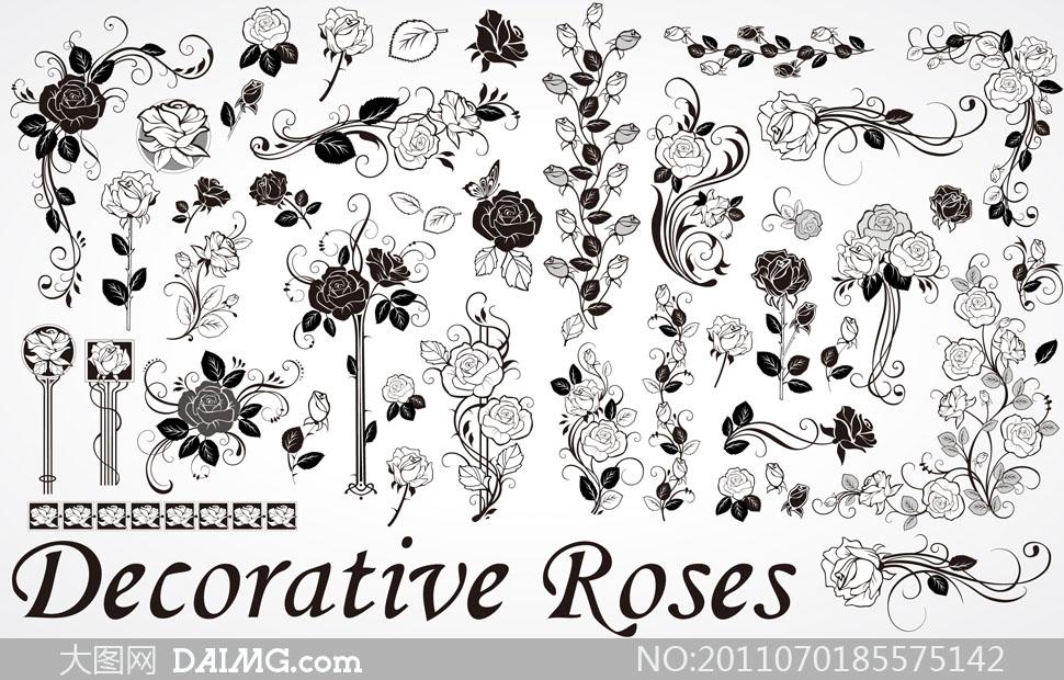 玫瑰花黑白矢量图内容|玫瑰花黑白矢量图版面设计