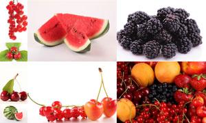 西瓜草莓樱桃等水果高清摄影图片