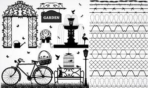 公园铁丝网黑白元素设计矢量素材