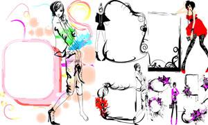 时尚女孩插画与边框矢量素材