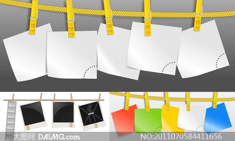 关键词: 矢量素材矢量图绳子绳索塑料夹子白纸纸张空白照片相片相框