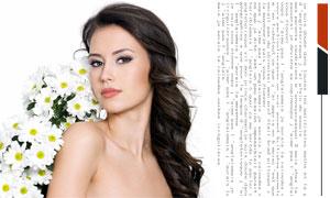 卷发美女与白色鲜花高清摄影图片