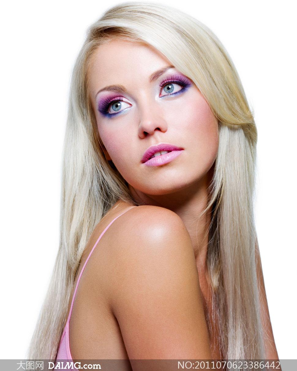 美女发型头发女人女性长发国外外国美发白色秀发彩妆