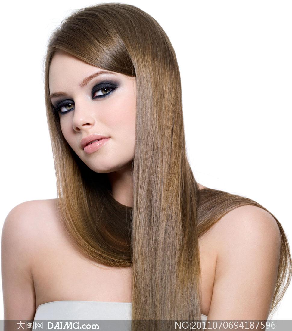 外国美女秀发美发造型长发发型图片欧美浓妆美女