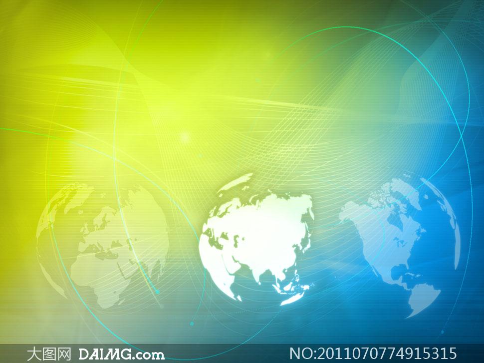 动感世界地图科技背景高清图片