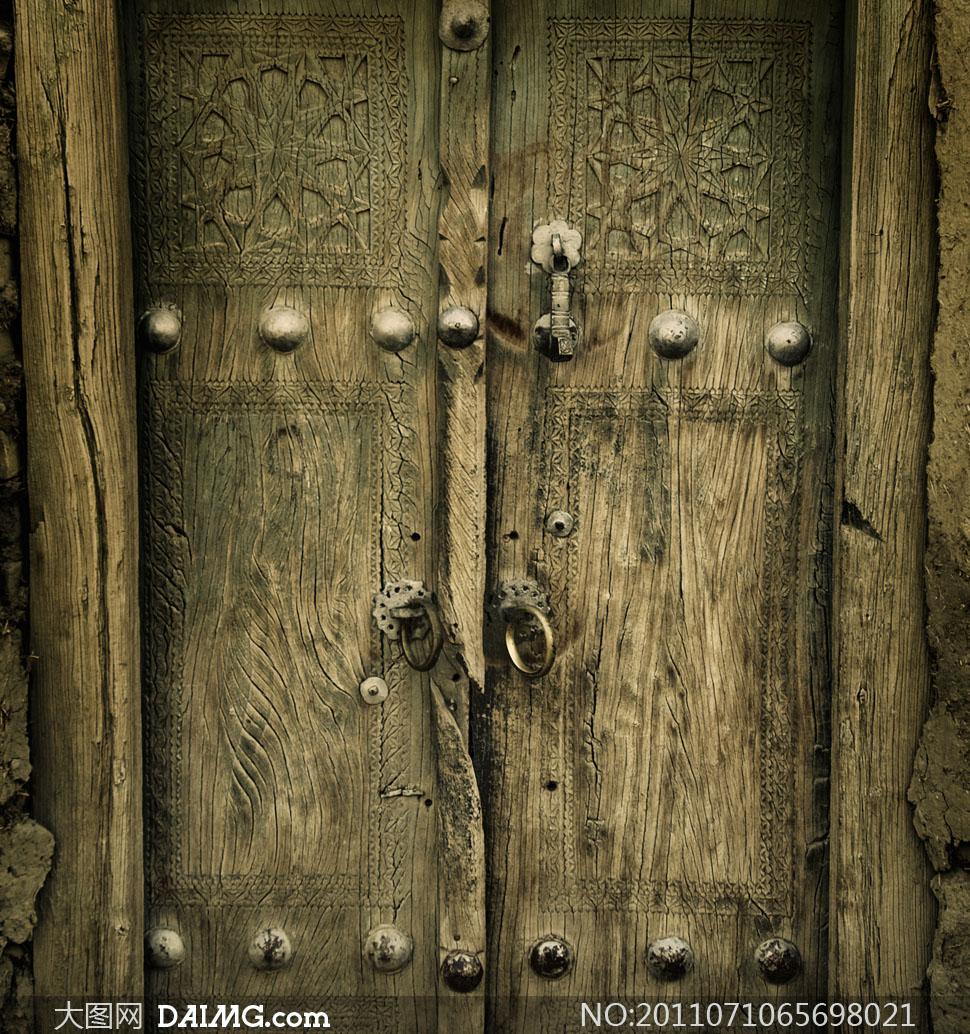 高清图片大图素材摄影复古古代木门门环门钉