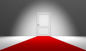 紧闭的房门与红地毯创意高清图片