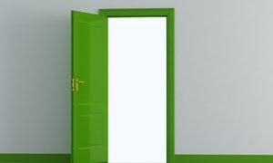 室内房间绿色房门高清图片