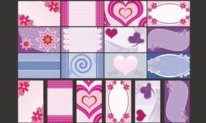 花朵爱心类名片背景设计矢量素材