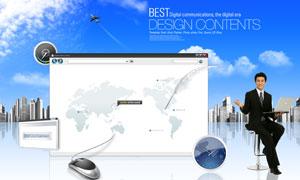 商务人物手势与浏览器窗口PSD分层素材