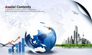 建筑物地球点状世界地图PSD分层素材