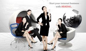 商务职场女性人物与黑白地球PSD分层素材