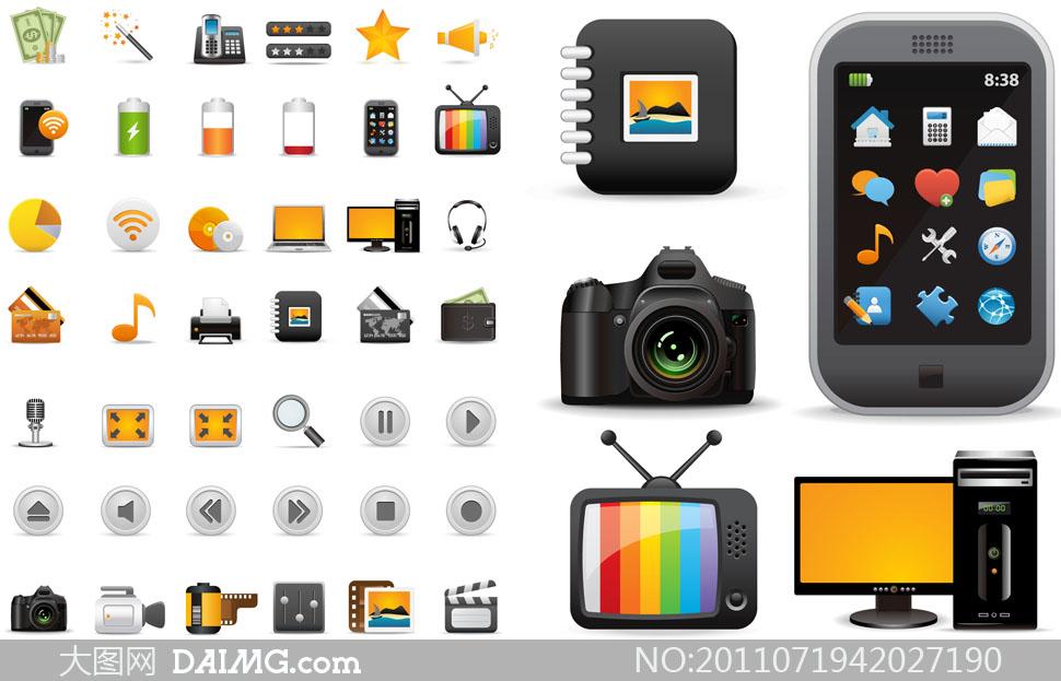 照相机手机电视机等实用矢量图标素材