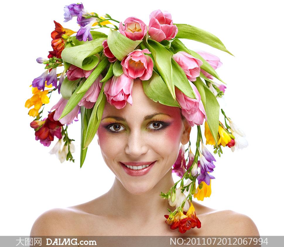 头顶鲜花的美女人物高清摄影图片 +大图网设计