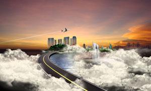 高架桥城市宣传广告PSD源文件