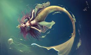 水中倒立游动的人鱼公主绘画图片素材