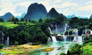 德天大瀑布风景高清摄影图片