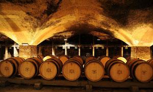 酒窖和橡木桶侧面高清图片