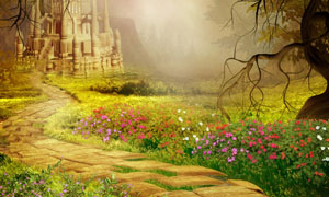 梦幻城堡林间小路高清设计图片