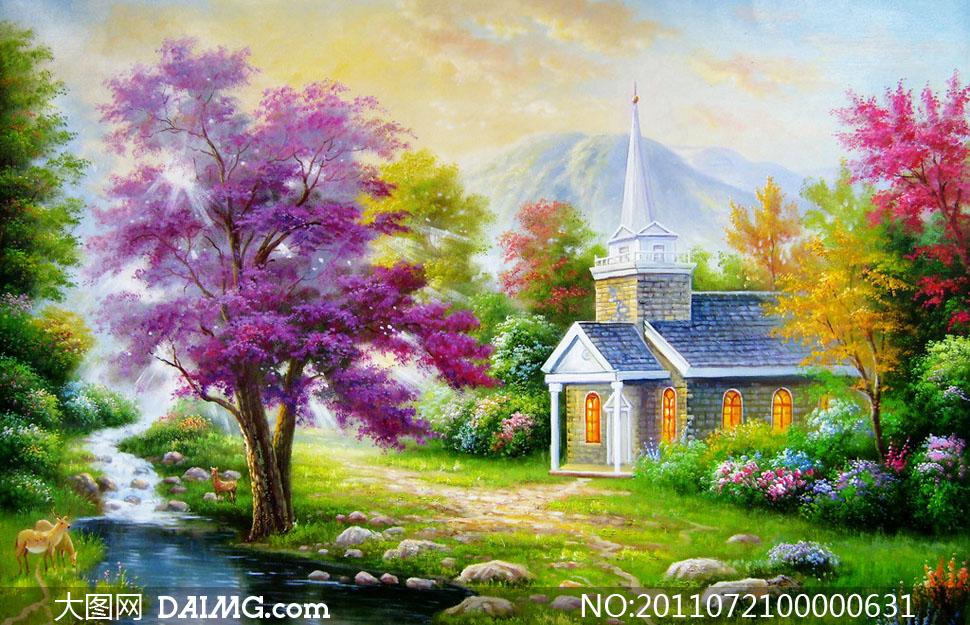 乡间别墅油画设计高清图片