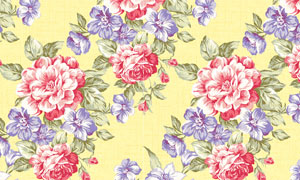 四方连续被单玫瑰花图案高清图片