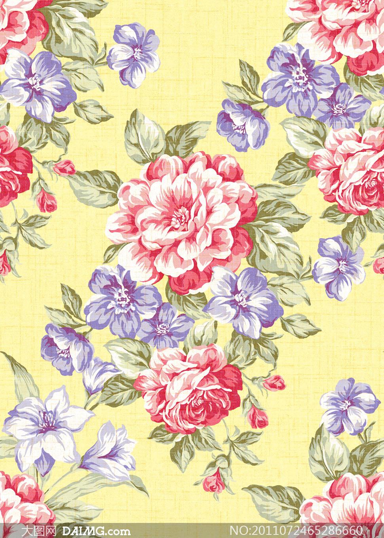 手绘四方连续图案;; 被单;; 四方连续被单玫瑰花图案高清图片   大图