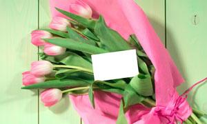 郁金香花束木板卡片高清摄影图片