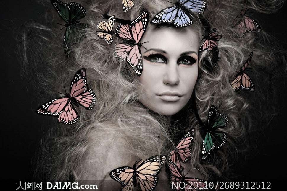 凌乱卷发彩妆美女创意摄影高清图片