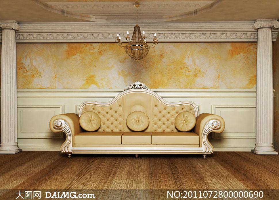 时尚沙发墙壁室内设计图片素材