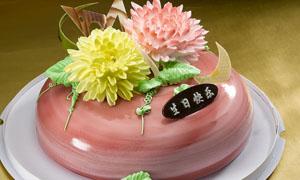 花朵雕塑生日蛋糕摄影图片