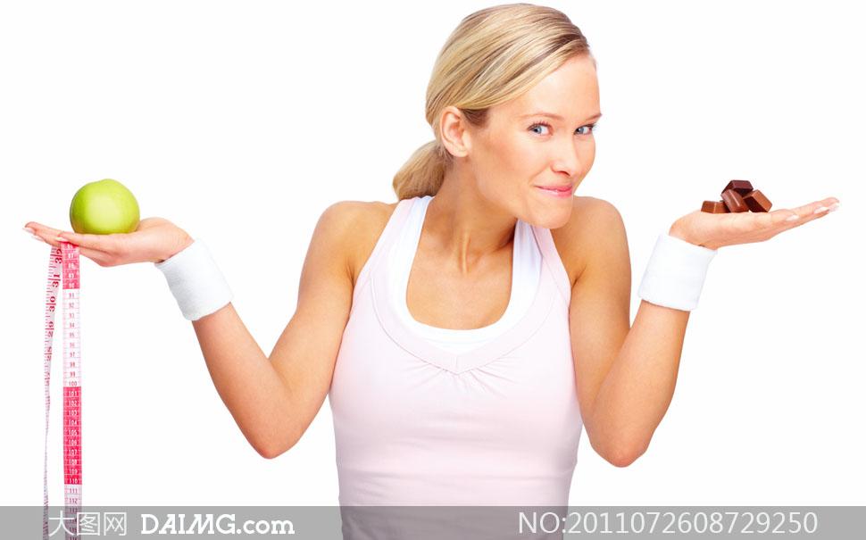 减肥瘦身美女人物摊手表情高清摄影图片